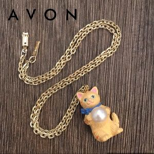 Vintage Cat with a Pearl Ball Necklace Avon